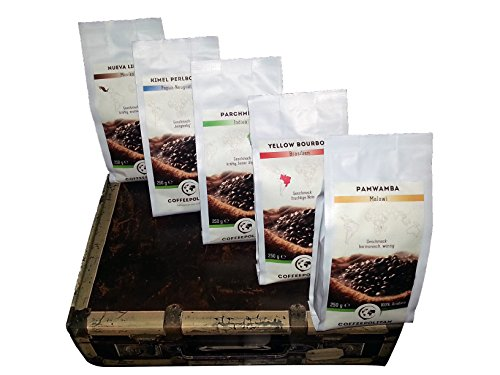 Coffeepolitan Kaffee Geschenkset - Kaffeebohnen aus 5 Kontinenten - ganze Bohne 5x250g, ideal auch als Geburtstagsgeschenk oder Probierset