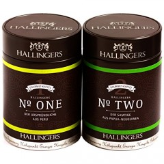 Hallingers Kaffee Mix grün Duo - gemahlen FrenchPress Set/Mix 2 x Premiumdose, 1er Pack (1 x 260 g)