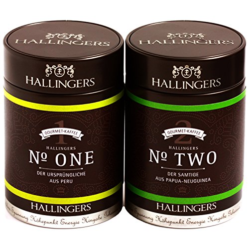 Hallingers Kaffee Mix grün Duo - gemahlen FrenchPress Set/Mix 2 x Premiumdose, 1er Pack (1 x 260 g)