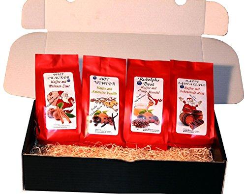 """Weihnachten Geschenk Set aromatisierter Kaffee """" Weihnachtskaffee """" 4 x 200 g Aromakaffee ganze Bohne das perfekte Weihnachtsgeschenk"""